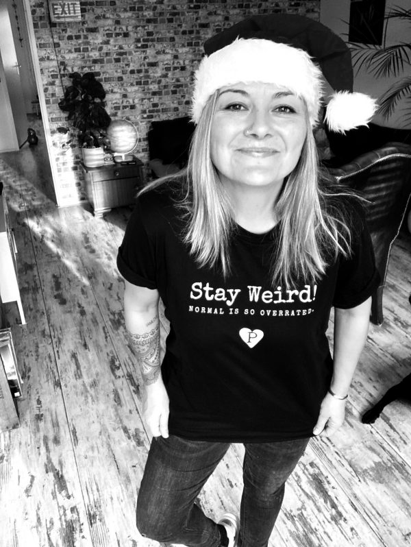 Hester Baks wearing The Recycled Pirate Stay Weird Normal is overrated t-shirt Amsterdam